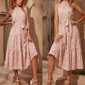 Boho floral print halter belted midi dress